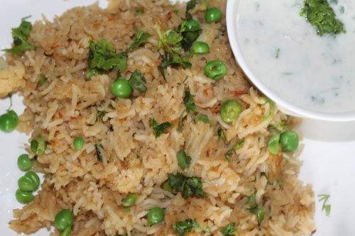 Gobi Matar Pulao- Rice with cauliflower and Peas